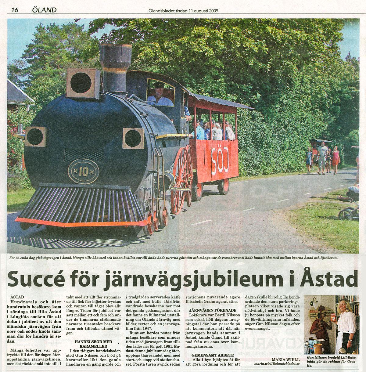 Ölandsbladet: Järnvägen Åstad